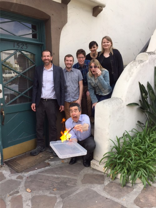 Serge Bromberg demonstrates film flammability for the Flicker Alley team outside Flicker Alley