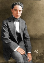 Charles Chaplin, c. 1915. Photo colorized by Robert M. Fells from a negative in his personal collection.
