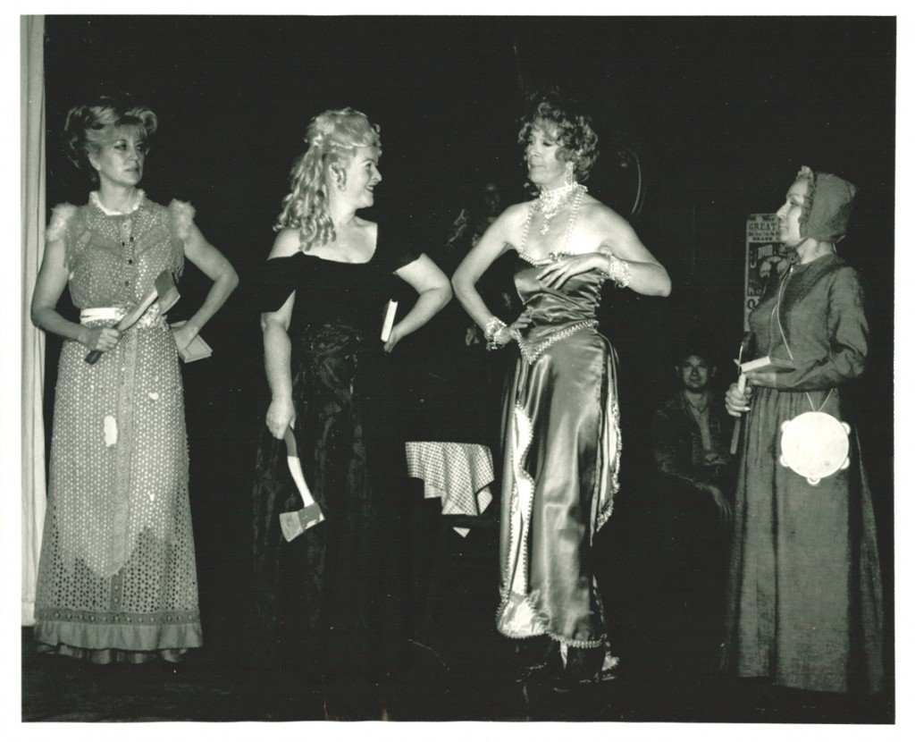 "Miller (second from the left) in a production of the musical ""Beautiful Downtown Burbank"" at the Burbank Little Theater, 1969. ""Mom played a not-quite-reformed streetwalker who fell in with a straight-laced reformer out to break every whiskey bottle in town (hence the hatchets!),"" says Paziak. ""My brother and I also had small parts in the show, and my dad did some of the set painting."""