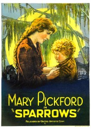 Mary Louise Miller (right) depicted on the theatrical poster for Sparrows (1926), opposite Mary Pickford