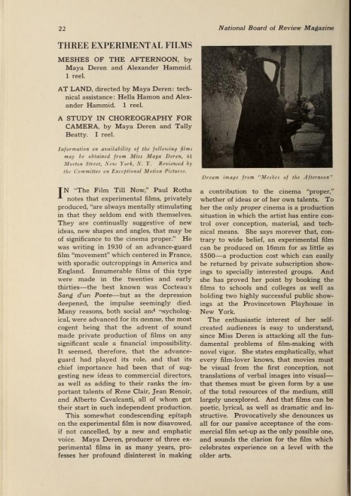 Maya Deren - National Board of Review New Movies - p1 - newmoviesnationa1920nati_0380