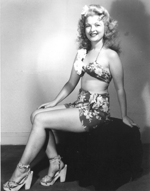 "Miller modeling c. 1945. ""Her photos were frequently used in 'Pinup' magazines popular with young men in the armed services during the war,"" says Paziak."